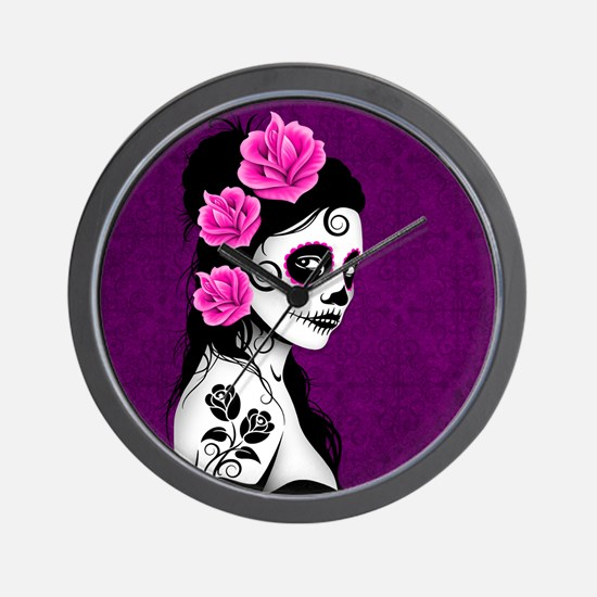 Day of the Dead Girl Purple Wall Clock