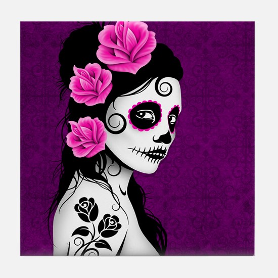 Day of the Dead Girl Purple Tile Coaster