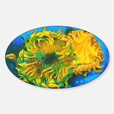 Van Goghs' Sunflowers Sticker (Oval)