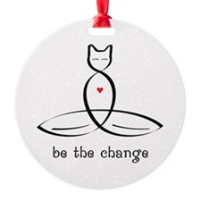 """Stylized Cat Meditator with """"Be The Ornament"""