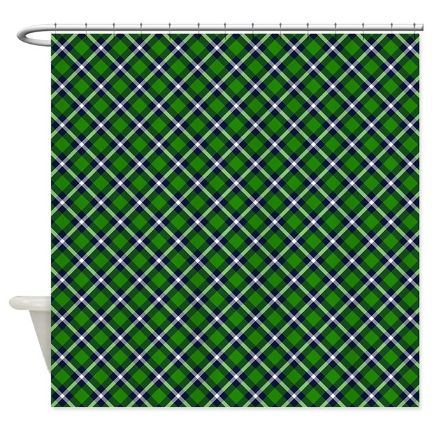 Green And White Plaid Shower Curtain By Thetestshop