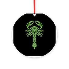 Intricate Green Tribal Scorpion on Black Ornament