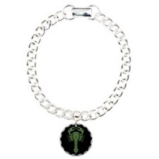 Intricate Green Tribal Scorpion on Black Bracelet