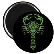 Intricate Green Tribal Scorpion on Black Magnets