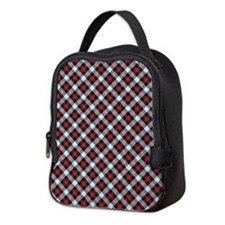 Red and White Plaid Pattern Neoprene Lunch Bag