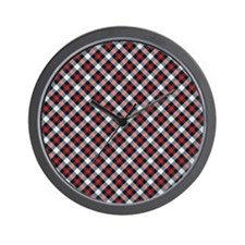 Red and White Plaid Pattern Wall Clock