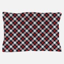 Red and White Plaid Pattern Pillow Case