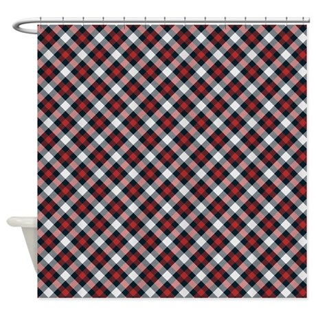 Red And White Plaid Pattern Shower Curtain By Thetestshop