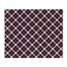 Red and White Plaid Pattern Throw Blanket