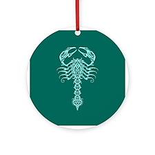 Intricate Teal Blue Tribal Scorpion Ornament (Roun