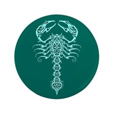 """Intricate Teal Blue Tribal Scorpion 3.5"""" Button"""