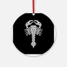 Intricate White Tribal Scorpion on Black Ornament