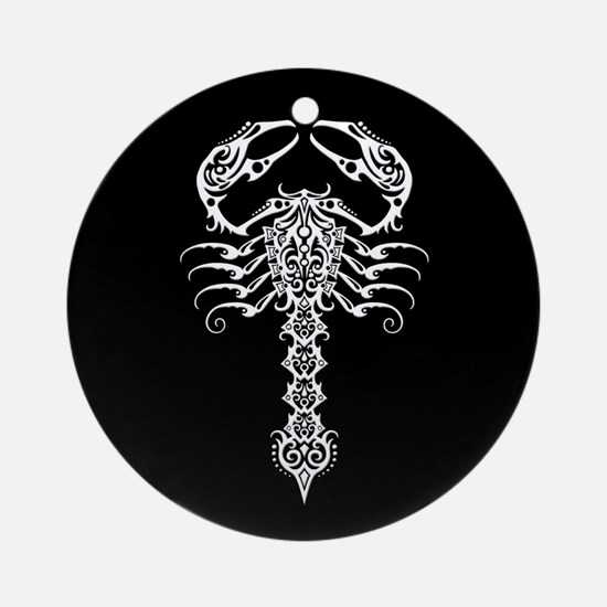 Intricate White Tribal Scorpion on Black Ornament