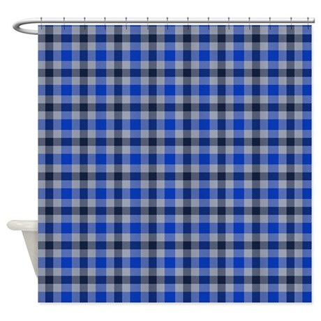 Blue And Grey Plaid Shower Curtain By Thetestshop