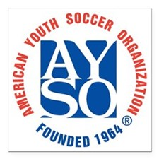 """AYSO 1258 Square Car Magnet 3"""" x 3"""""""