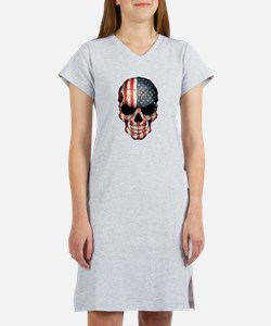 American Flag Skull Women's Nightshirt