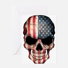 American Flag Skull Greeting Cards