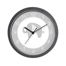 Gray and White Modern Elephant Clock Wall Clock