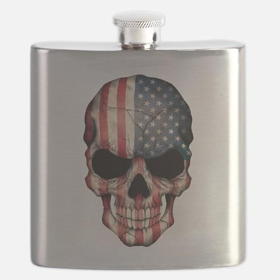 American Flag Skull Flask