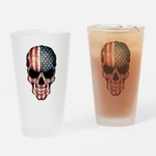 American Flag Skull Drinking Glass