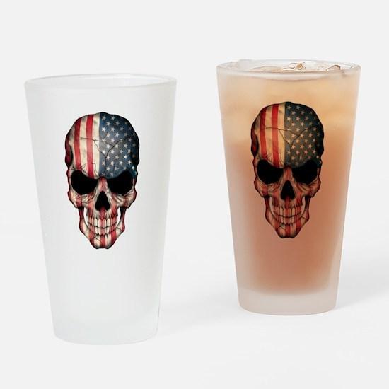American Flag Skull Drinking Glass