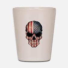 American Flag Skull Shot Glass