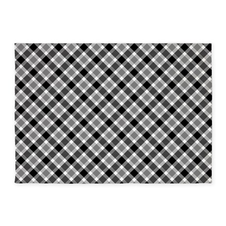 Black and white plaid 5 39 x7 39 area rug by thetestshop for Checkered carpet black and white