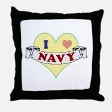 I Heart Navy Throw Pillow