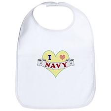 I Heart Navy Bib
