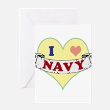 I Heart Navy Greeting Cards
