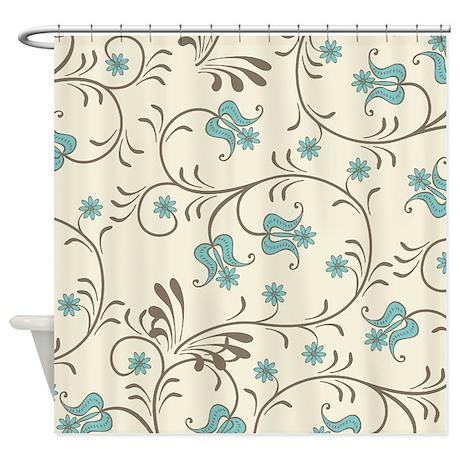 Gorgeous Aqua Cream Tan Pastel Fl Shower Curtain By
