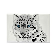 Beautiful Blue Eyed Snow Leopard  Rectangle Magnet