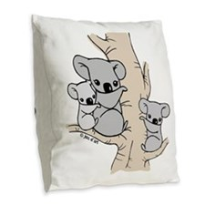 Koala Bears Burlap Throw Pillow