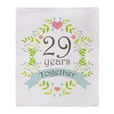 29th Anniversary flowers and hearts Throw Blanket
