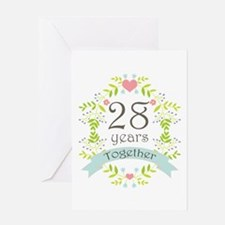 28th Wedding Anniversary Gift For Husband : 28th Anniversary flowers and hearts Greeting Card USD3.49