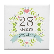 28th Anniversary flowers and hearts Tile Coaster