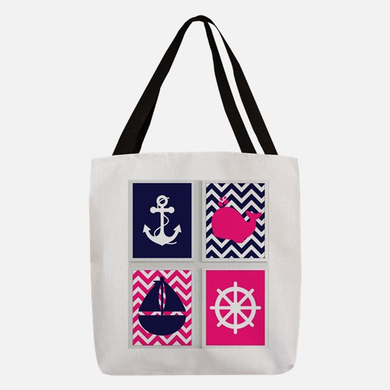 NAUTICAL ON PINK AND BLUE CHEVRON Polyester Tote B