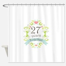 27th Anniversary flowers and hearts Shower Curtain