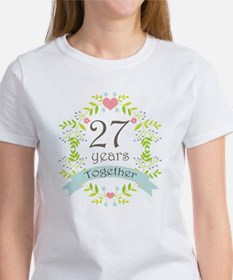 27th Anniversary flowers and heart Tee