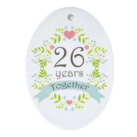 26th Anniversary flowers and heart Ornament (Oval)