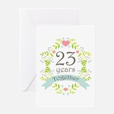 23rd Anniversary flowers and hearts Greeting Card