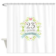 23rd Anniversary flowers and hearts Shower Curtain
