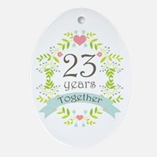 23rd Anniversary flowers and heart Ornament (Oval)
