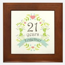 21st Anniversary flowers and hearts Framed Tile