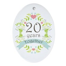 20th Anniversary flowers and heart Ornament (Oval)