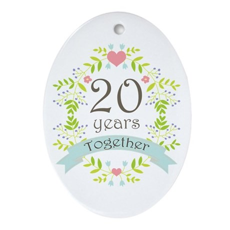 20th anniversary flowers and heart ornament oval by anniversarytshirts4. Black Bedroom Furniture Sets. Home Design Ideas