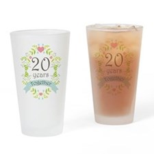 20th Anniversary flowers and hearts Drinking Glass