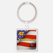 California with American Flag  Square Keychain
