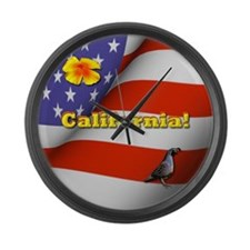 California with American Flag  Large Wall Clock