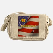 California with American Flag  Messenger Bag
